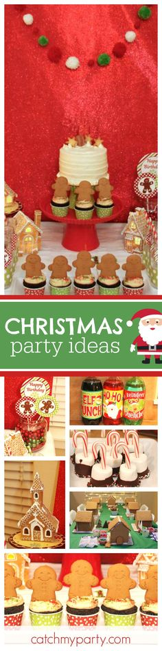 Check out this fun Christmas gingerbread house decorating party. The gingerbread cookie cupcakes are so cute!! See more party ideas and share yours at CatchMyParty.com