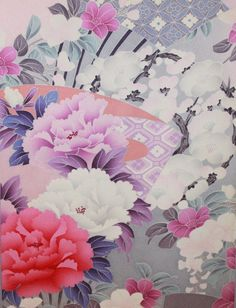 Japanese Vintage Silk Kimono Fabric - Beautiful Flowers