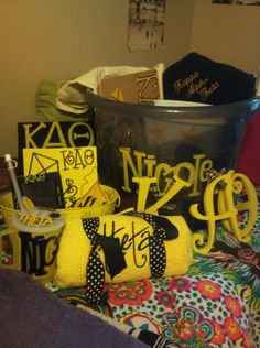 Here's a picture of what I did for my little last fall!  http://sororitycraft.tumblr.com/page/13