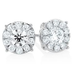 nice Halo Stud Earrings with 1 Carat TW of Diamonds in 10ct White Gold by Michael Hill