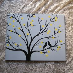 Custom Painted Canvas Art Tree Silhouette Love Birds Hearts, Hand Painted Canvas Wall Art, Romantic Wedding or Anniversary Gift for Couples Small Canvas Paintings, Easy Canvas Art, Small Canvas Art, Easy Canvas Painting, Cute Paintings, Mini Canvas Art, Wall Canvas, Wall Art, Tree Canvas