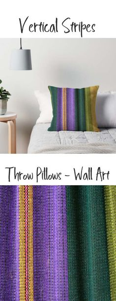 Vertical stripes in purple and green on a throw pillow. Buy it here: https://www.redbubble.com/people/rhamm/works/10875346-hammock-material?asc=u&grid_pos=325&p=throw-pillow&rbs=a0b71602-8977-4582-8531-e158678db000&ref=artist_shop_grid