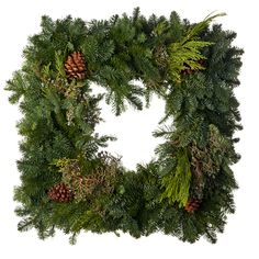 24-Inch Decorated Square Wreath with Juniper and Pine Cones Decorate your home for the holidays with lush 24 inch wide Square Mixed Decoration wreath. The attractive blue Juniper berries, Ponderosa pine cones and fresh evergreen and cedar fragrances of these wreaths will fill your home with the holiday spirit and add the the ambiance of your outdoor decor as well. Try dressing up your wreath with a festive bow, ribbon or even lights to add that special touch.