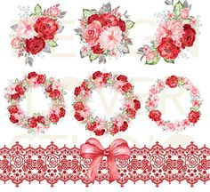 Watercolor RED ROMANCE design, spring watercolor flower, Red Floral Clipart, Wedding Clip Art, wedding, ruby rose - 6 watercolor wreath/arrangement/frame clipart flower 6X6 300 dpi PNG file with transparent background - lace, bow separate png file with transparent background