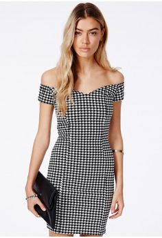 Kasia Bardot Mini Dress In Dogtooth - Dresses - Bardot Dresses - Missguided
