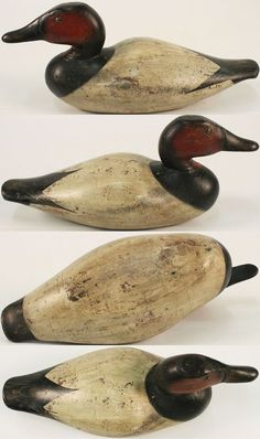 Canvasback Drake Scarce Big Oversized Humpback made by Jasper N. Dodge, Detroit, MI, 1890's, solid wood, structurally excellent, bronze tack eyes, original paint with minor wear, deep carved bill, Big Wide Body with protruding breast & hump back, exceptional form & size, only a few are known to exist.