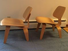 Lot 1 A Pair of Eames LCW Chairs // Herman Miller // Bent plywood and veneer chairs // by ModernaireMCMStudios on Etsy