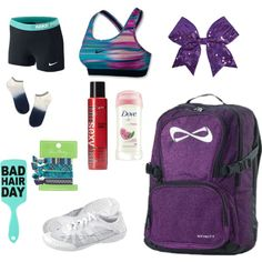 What's in my cheer bag by druguy3 on Polyvore featuring polyvore, fashion, style, NIKE, Madewell, Chassè, Dove, Sexy Hair and Vera Bradley