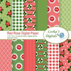 Red Rose Digital Papers - Shabby Chic vintage cottage garden instant download printable paper for commercial use for invites and projects - pinned by pin4etsy.com