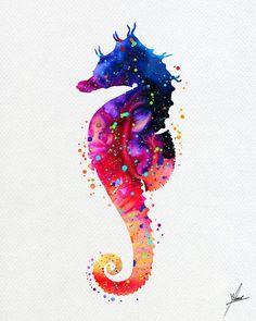 Ilustraciones de acuarela de vida mar Caballito por PainterlyDots