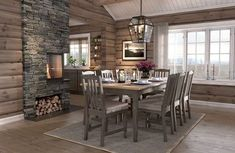 Cabin Homes, Log Homes, Log Home Kitchens, Contemporary Cabin, Log Home Interiors, Cottage Living, Dining Room Design, Great Rooms, Foyer