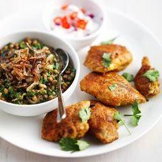 kip met kerrie linzen en spinazie