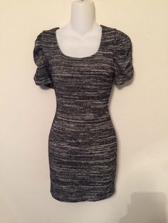 8b665ff5d6a Black gray white ruched sleeves dress Polyester Spandex