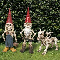 skeleton garden gnomes... fucking awesome :D