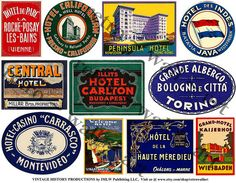 Printed Luggage Stickers 11 Hotel Luggage Labels Travel Trunk Sticker Baggage Labels Travel Journal Art Paper Stickers Vintage Clip Art, 400