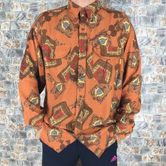 Vintage 90s Silk Baroque Floral Abstrack Royalty Baroque Classic Gold Chain Luxury Buttondown Silk Shirt Size M