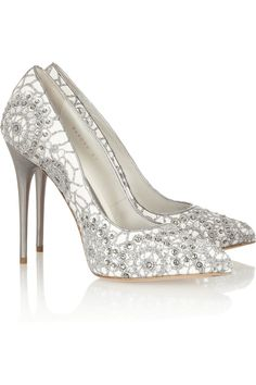 Alexander McQueen | Crystal-embellished embroidered suede pumps | NET-A-PORTER.COM
