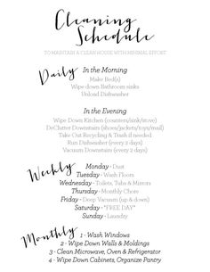 my dailyweeklymonthly cleaning schedule to keep my house clean without cleaning all