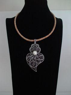 Portugiesische Collier, Viana des Herz-Halskette, portugiesische filigran, Kork Halskette filigrane, portugiesische Schmuck
