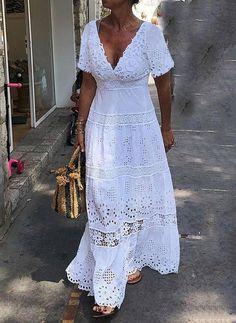 Elegant Maxi Dress, White Maxi Dresses, Maxi Dress With Sleeves, Pretty Dresses, Lace Dress, Short Sleeve Dresses, Summer Dresses, Short Sleeves, Mode Xl