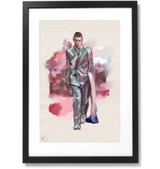 Framed Dior homme 2020 Print, X Black Wood, Conceptual Art, Outline, Museum, Contemporary, Frame, Prints, Artist, Painting