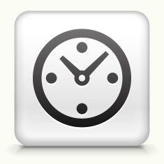 White Square Icon of a Black Clock vector art illustration