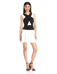 BCBGMax Azria Womens Aloissa Color Blocked Dress Off WhiteBlack Combo 2 *** Learn more by visiting the image link. (This is an affiliate link) #Dresses