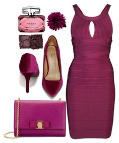 """◇FUCHSIA FUSION◇"" by tamsy13 ❤ liked on Polyvore featuring Salvatore Ferragamo, Breckelle's, Hervé Léger, Gucci, Kevyn Aucoin and monochrome"