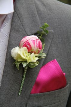 The Bride Groom's rather special Pink Peony Boutonniere