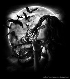 Vampiress with moon