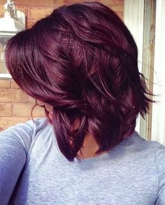 Fall hair color, Cute Red Violet Hair Color for Medium Hair Ideas - New Hair Red Violet Hair, Violet Hair Colors, Hair Color Purple, Hair Color And Cut, Color Red, Dark Red Purple Hair, Deep Burgundy Hair Color, Purple Bob, Purple Tips