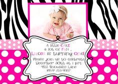 Zebra Birthday Party Invitation Ideas