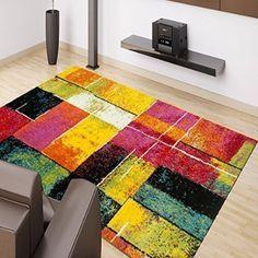Tappeto Moderno Splash Design Multi colore quadri diverse misure giallo verde rosa - 80 cm_x_150 cm: Amazon.it: Casa e cucina