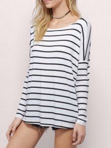 Black White Long Sleeve Striped Round Neck Casual T-Shirt