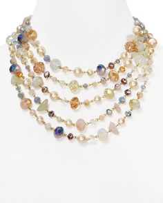 "Carolee Multi Strand Necklace 16"", Garden Collection 