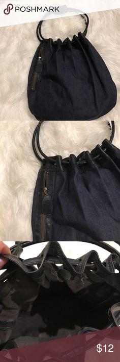 Vintage Denim Bag W/Leather Shoulder Strap Unique bag with 1 large outside zippered pocket.  In perfect condition. Bags Satchels