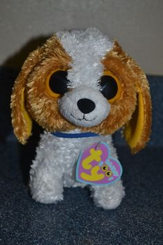 """Ty Beanie Boos Cookie dog 6"""" SOLID EYES Purple hang tag Easter Basket Plush #GR2 #Ty"""