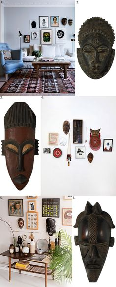 Invitation to the Masquerade: Add to an eclectic gallery wall with these African Masks