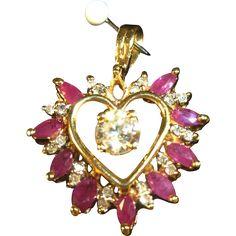 Rubies and Diamonds Heart Shaped  Pendant 14 kt gold