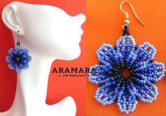 Mexican Huichol Beaded Blue Flower Earrings AF-0050 by Aramara