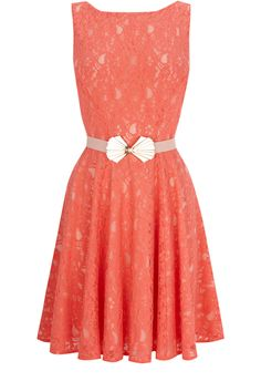 Oasis Clothing | Coral Orange Belted Fit and Flare Dress | Womens Fashion Clothing | Oasis Stores UK -lovely vintage style belt -