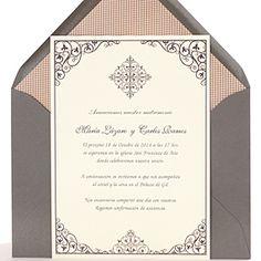 Invitación de boda con delicados diseños arabescos en tonos grises. Invitación de boda Milano (gris)