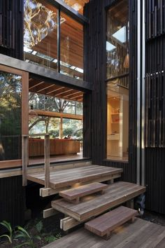 wood and glass!! contrast on entrance