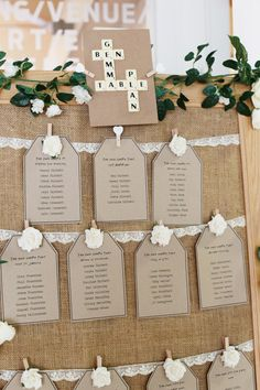 Scrabble Hessian Lace Luggage Tag Seating Table Plan Chart Casual Summer Outdoor Beach Wedding http://www.lifephotographic.com/