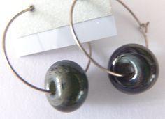 maineteam hoop earrings lampwork bead green black by MandaJ, $13.00