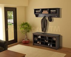Prepac Shoe Cubbie Bench with Cubbie Shelf for Entryway in Espresso