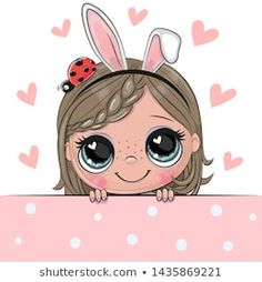 Cartoon Girl with flowers on a white background. Cute Cartoon Girl with rabbit ears and flowers on a white background royalty free illustration Cartoon Cartoon, Cartoon Whale, Disney Cartoon Characters, Cartoon Kunst, Cute Cartoon Girl, Cartoon Drawings, Cute Drawings, Valentine Cartoon, Girls With Flowers