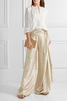 Oscar de la Renta | Lace-trimmed silk blouse | NET-A-PORTER.COM
