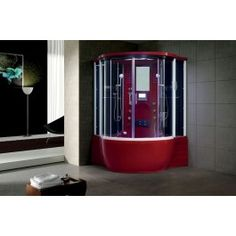 Maya Bath Florence x Round Sliding Steam Shower with Base Included Finish: Red Steam Shower Enclosure, Bathtub Enclosures, Frameless Shower Enclosures, Neo Angle Shower, Internal Sliding Doors, Master Bath Shower, Traditional Doors, Steam Showers, Shower Doors