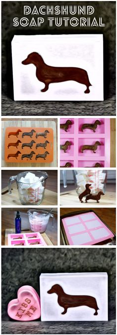 This darling dachshund melt and pour soap recipe is perfect for dachshund lovers who must have everything dachshund!) Learn how to make this lavender and chocolate scented dachshund melt and pour soap recipe now by clicking th Savon Soap, Lye Soap, Soap Melt And Pour, Soap Tutorial, Homemade Soap Recipes, Soap Molds, Home Made Soap, Handmade Soaps, Soap Making